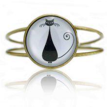 """Bracelet """"Sweet nature - Cats"""" en métal bronze et cabochon de verre"""