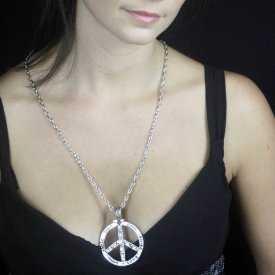 """Collier """"Peace & Love gravé"""" en métal argenté et strass   Les Bijoux de Camille, bijoux fantaisie pas cher"""