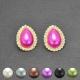 """Boucles d'oreilles """"Pearl"""" en métal doré, perle et strass"""