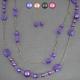 """Parure """"Colored Crystal"""" en métal argenté et perles de résine"""