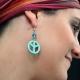 """Boucles d'oreilles """"Peace & Love"""" en imitation turquoise   Les Bijoux de Camille, bijoux fantaisie pas cher"""