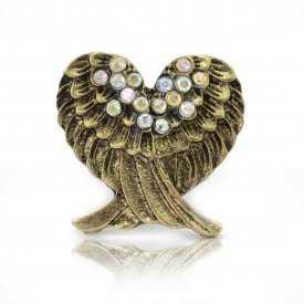 """Bague """"Angels"""" en métal doré vieilli et strass"""