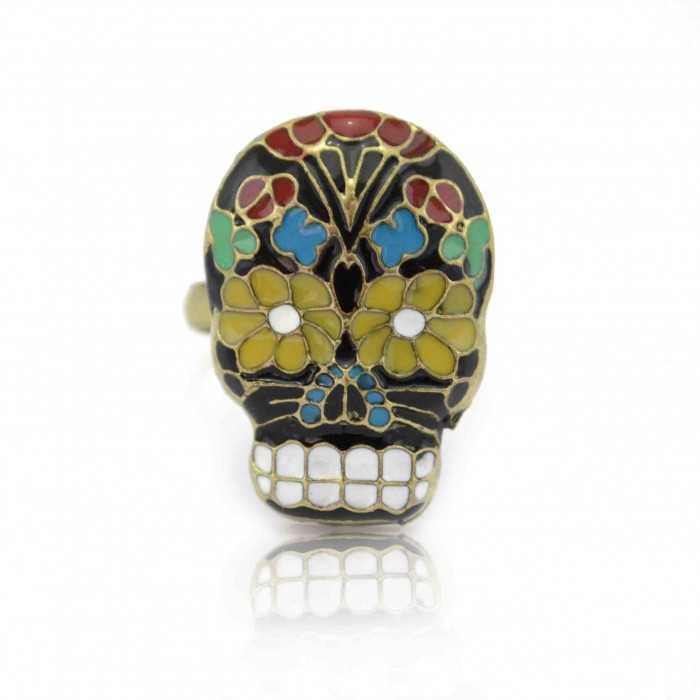 "Bague ""Funny Skull"" en métal doré et émail"