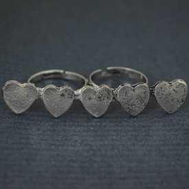 """Bague double """"Hearts"""" en métal argenté"""