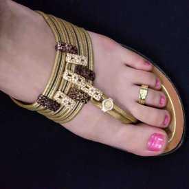 """Bague de pied """"Soleil"""" en métal doré"""
