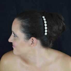 """Peigne """"Perles"""" en plastique et demi-perles de synthèse"""