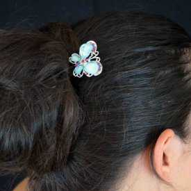 """Pic à chignon """"Papillon"""" en métal argenté, résine et strass"""
