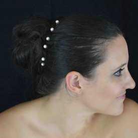 """Pic à chignon """"Perle - Mini"""" en métal argenté et perle de synthèse"""