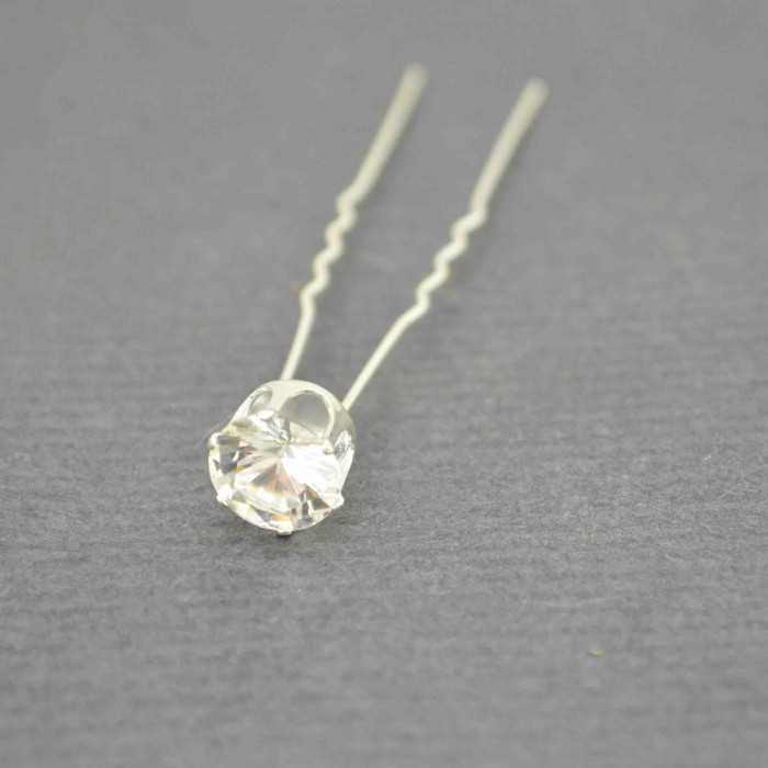 """Pic à chignon """"Cristal"""" en métal argenté et strass de verre"""