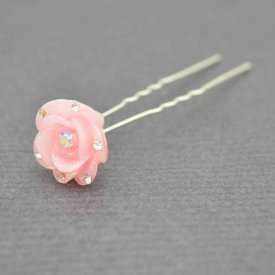 """Pic à chignon """"Rose"""" en résine et strass"""