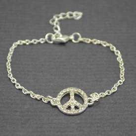 """Bracelet de cheville """"Peace & Love"""" en métal et strass"""