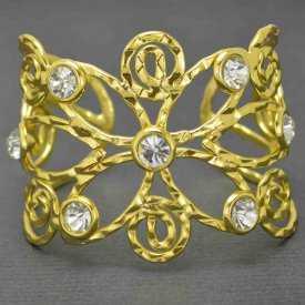 """Bracelet manchette """"Sun flower"""" en rhodium et strass"""