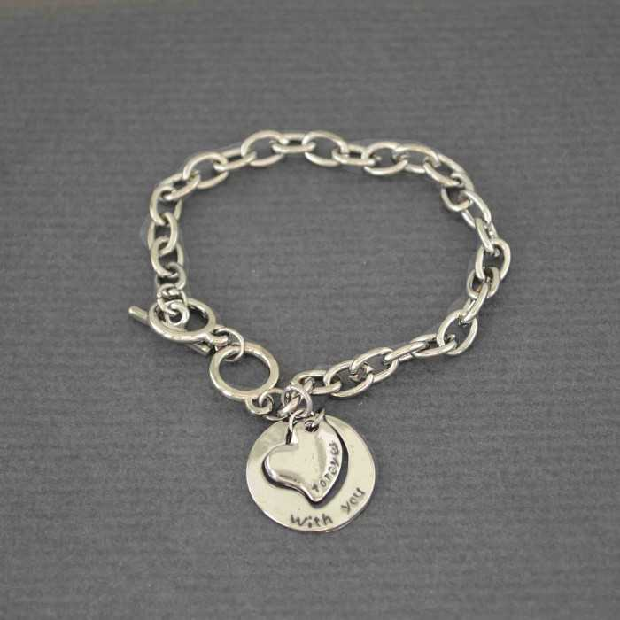 "Bracelet  ""With you"" en métal"