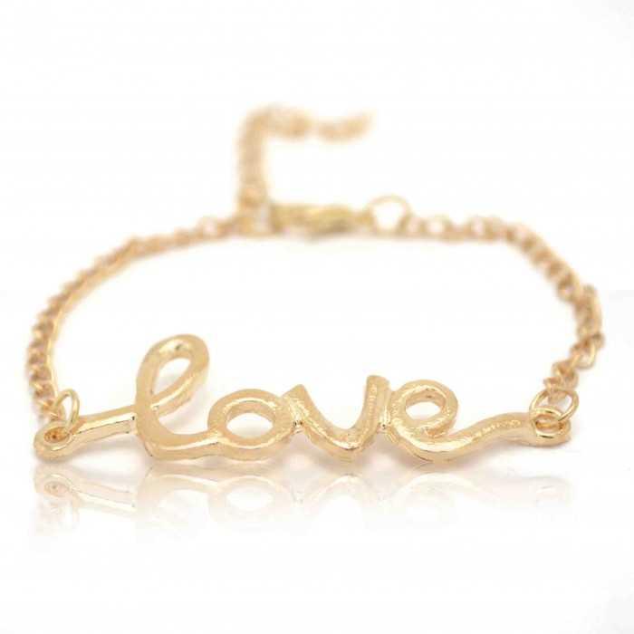 """Bracelet fantaisie """"Love"""" en métal doré"""