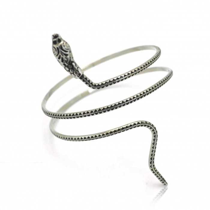 """Bracelet fantaisie """"Ssssnake"""" en métal argenté"""