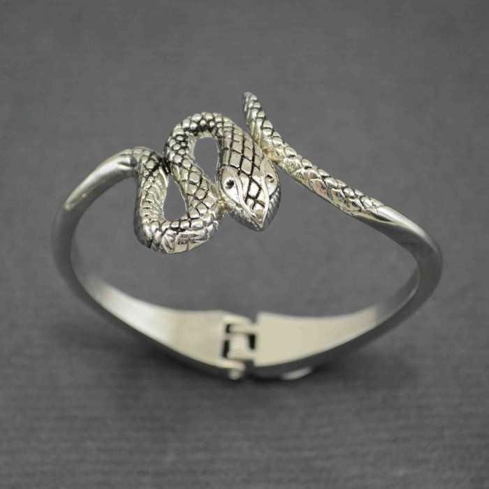 """Bracelet """"Serpent"""" en métal argenté"""
