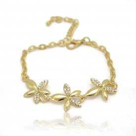 """Bracelet """"Spring"""" en métal doré et strass"""