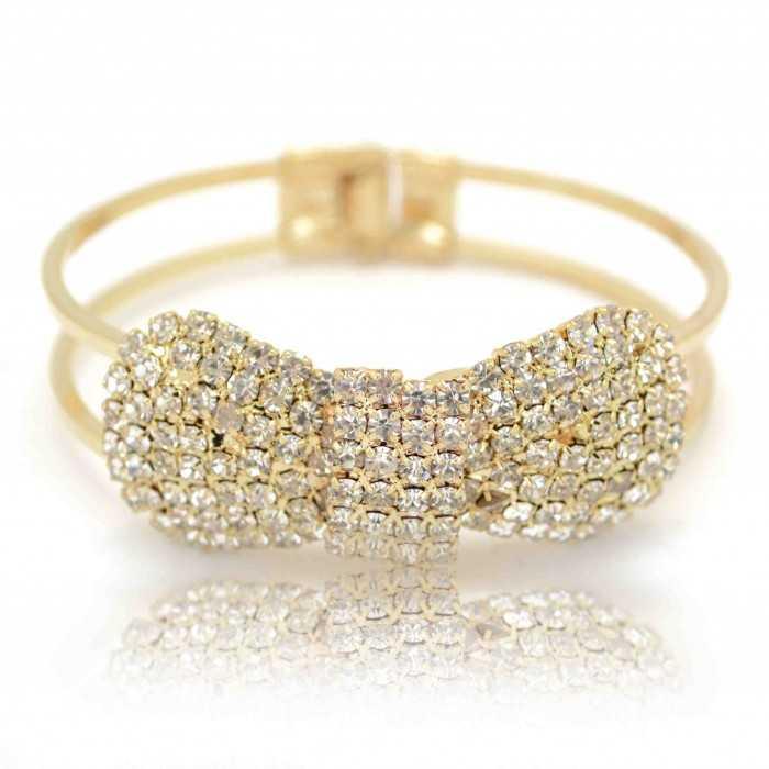 """Bracelet fantaisie """"Nice Noeud"""" en métal doré et strass"""