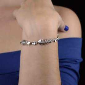"""Bracelet fantaisie """"Fish Bones"""" en métal argenté et strass"""