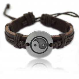 "Bracelet fantaisie ""Yin & Yang"" en inox brossé et cuir"