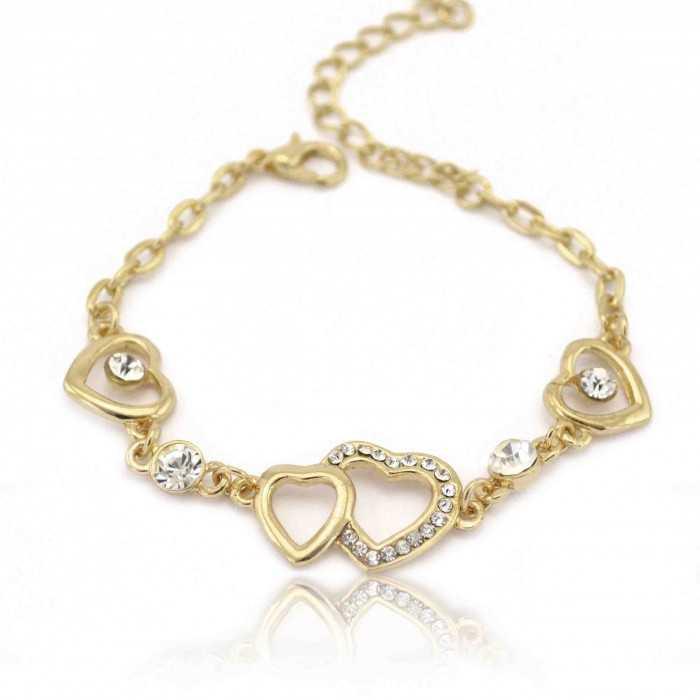 """Bracelet fantaisie """"Coeurs Croisés"""" en métal doré et strass"""