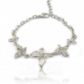 """Bracelet """"Papillon vole !"""" en métal argenté et strass"""
