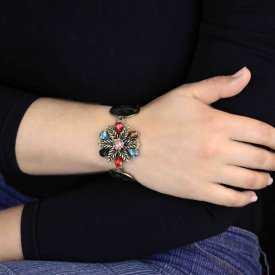 """Bracelet """"Peace and Shine"""" en métal bronze vieilli et strass"""