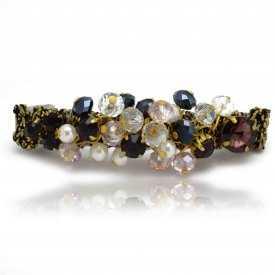 """Barrette """"Royaume"""" en métal doré et perles à facettes"""