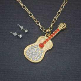 """Parure """"Guitare"""" en métal doré et strass"""
