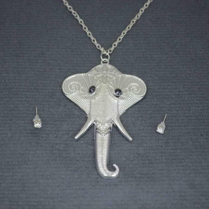 "Parure ""Elephant"" en métal et strass"