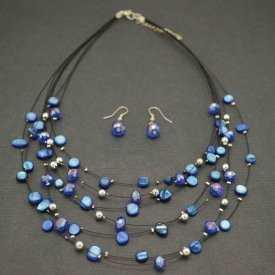 """Parure """"Ummagumma"""" en perles sur câbles"""