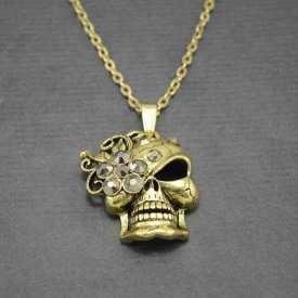 "Collier fantaisie ""Skull & Roses"" en métal et strass"