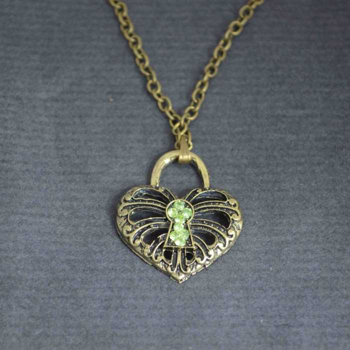 """Collier fantaisie """"Clé de mon cœur"""" en métal et strass"""