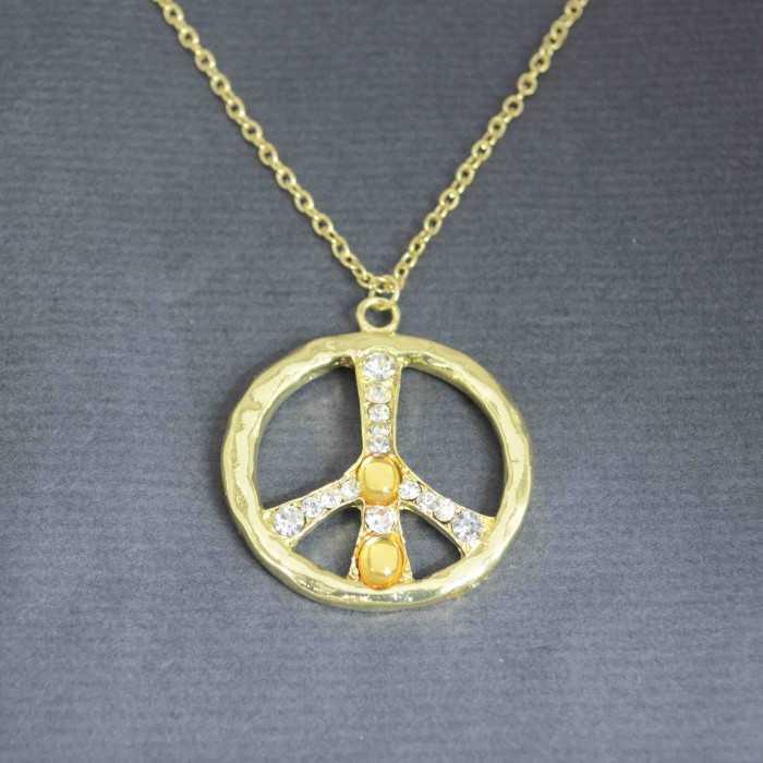 """Collier """"Bright Peace"""" en métal et strass"""