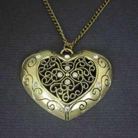 """Collier fantaisie """"Big Love"""" en métal doré et strass"""