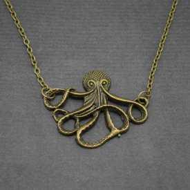 "Sautoir ""Octopus"" en métal doré vieilli"