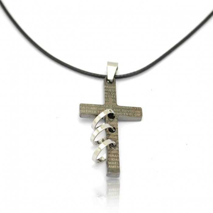 "Collier fantaisie ""Smart Cross"" en métal argenté"