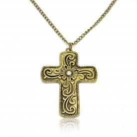 "Collier ""Big Cross"" en métal doré vieilli"