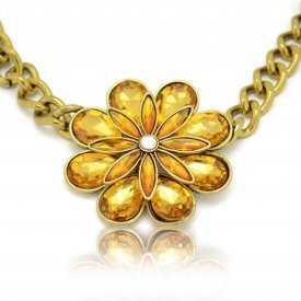 """Collier fantaisie """"Bohemian Flower"""" en métal doré et strass"""