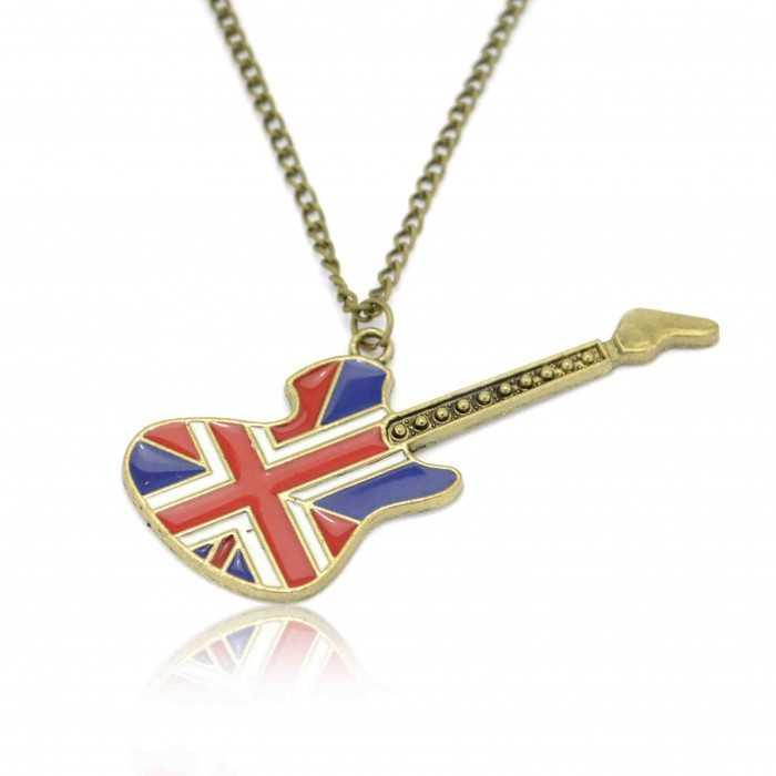"""Collier """"English Guitar"""" en métal bronze et émail"""