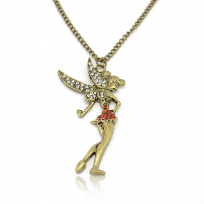 """Collier fantaisie """"Tinkerbell"""" en métal doré vieilli et strass"""