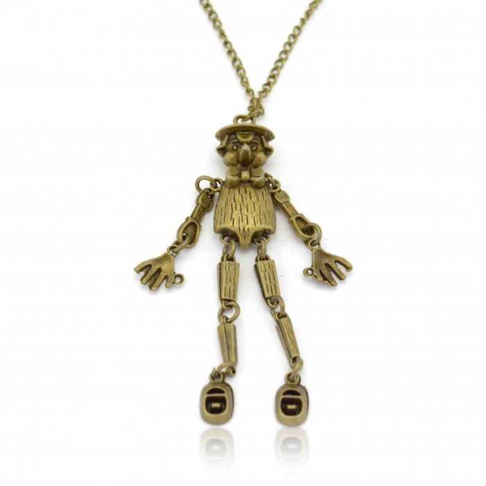 """Collier """"Pinocchio"""" en métal bronze"""