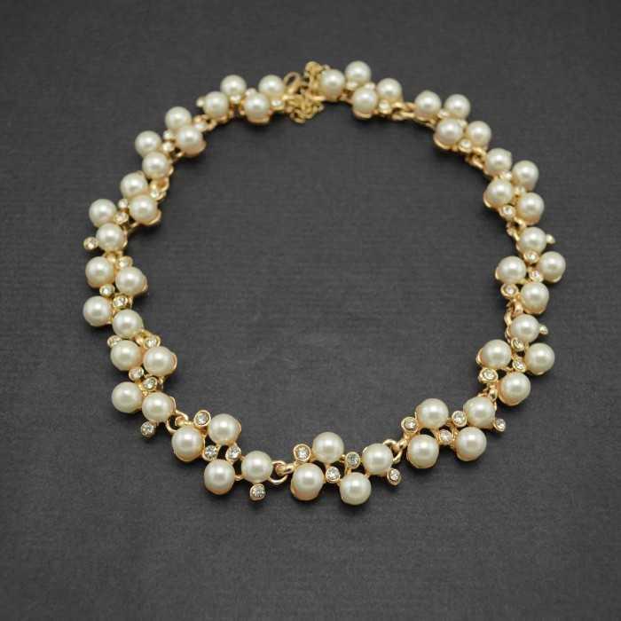 """Collier fantaisie """"Princess"""" en métal doré, strass et perles de synthèse"""