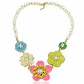 """Collier """"Multi Flor"""" en métal doré, émail et perles"""