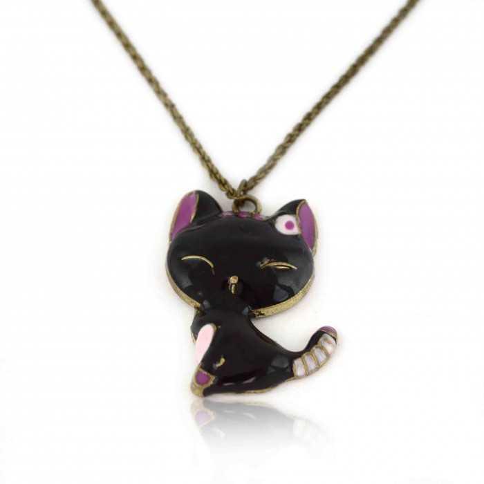 """Collier fantaisie """"Japan Cat"""" en métal doré et émail"""