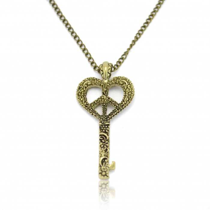 "Collier ""Heart Key Flower"" en métal doré vieilli"