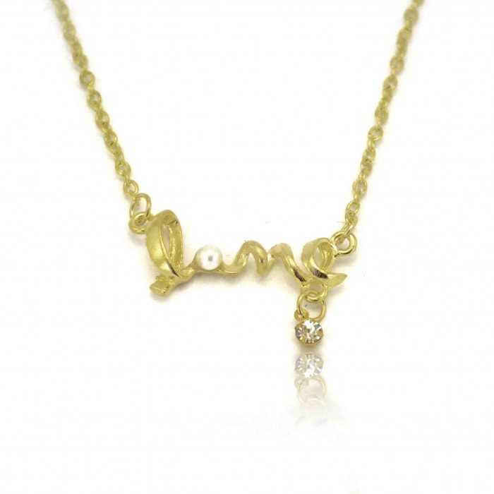 """Collier fantaisie """"Love"""" en métal doré, perle et strass"""