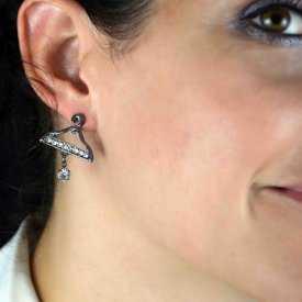 "Boucles d'oreilles ""Cintres"" en métal et strass"