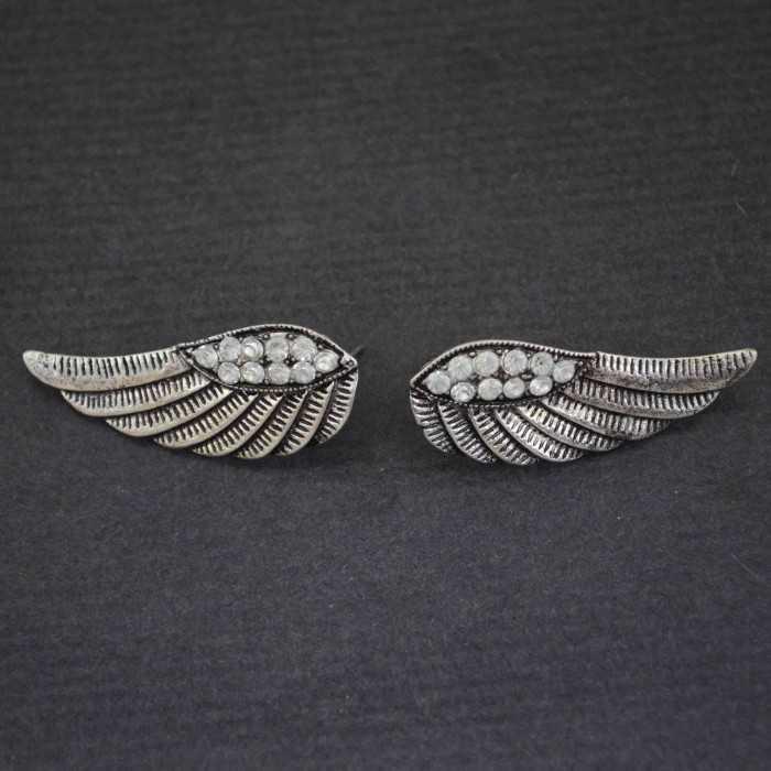 """Boucles d'oreilles """"Wings"""" en métal et strass"""