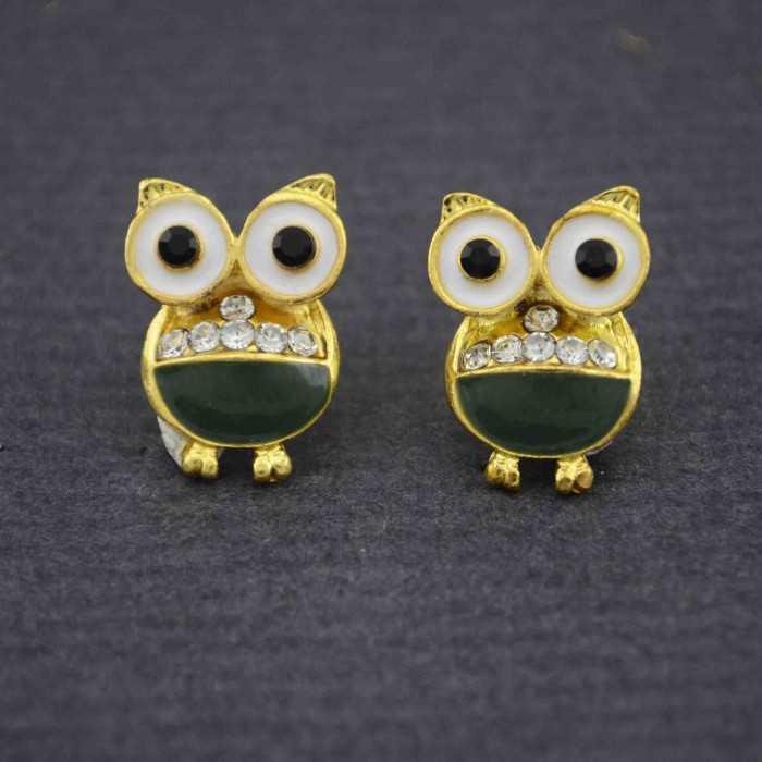 """Boucles d'oreilles fantaisie """"Soren"""" en métal doré, strass et émail"""